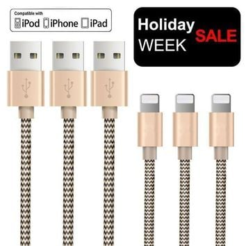 CREYON OTISA 3Pack 5Ft Nylon Braided Lightning Cable with Ultra-compact Connector Charging Cord Charger for iPhone 7/7 Plus/6s/6s Plus/6/6 Plus/5s/55se, iPad,iPod Compatible with iOS10