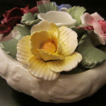 Aynsley England Fine Bone China Colored Roses Candle Holder