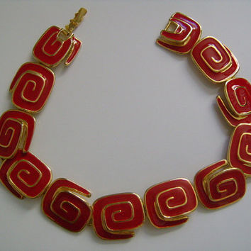 "Fabulous Retro HOT RED Bright Enamel Swirl Designs Gold Tone Panel Link Short Choker Necklace 13"" Long For Slim Neck or Wrap Around Bracelet"