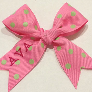 Mini cheer bow with custom name embroidered by twolittleseastars