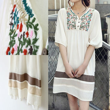 Embroidered Mexican Loose Dress