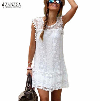 Beautiful Casual Sleeveless Summer Dress Solid White Mini Lace (Plus Sizes)