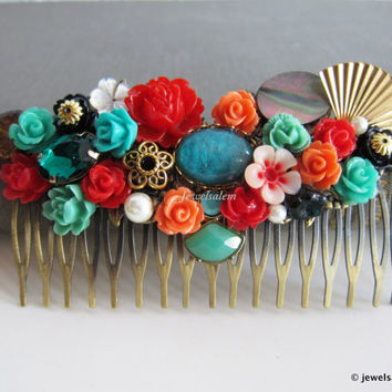 Aqua Wedding Hair Comb Coral Teal Red Bridal Hair Comb Flower Hair Slide for Bride Modern Vintage Style Chintz Headpiece Elegant Chic WR