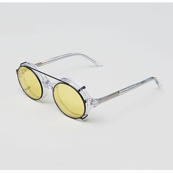 Han Kjobenhavn - Doc Clip On 47mm Clear Sunglasses / Yellow Lenses