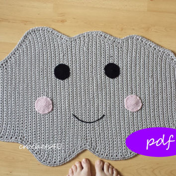 pattern crocheted cloud rug