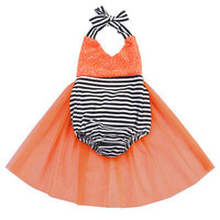 Halloween Cutie Orange and Black Baby Romper with Tulle Skirt