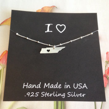 I LOVE TENNESSEE  Sterling Silver Italian Ball Chain State Love Heart Necklace, gift for mom, gift for daughter, gift for sister