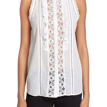 Rebecca Taylor Lace & Cotton Voile Sleeveless Top   Nordstrom
