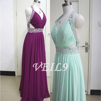 Blue Sexy Beaded Long Prom Dresses, Tiffany Blue Sexy Backless Evening Gowns, Formal Party Dresses,Wedding Party Dresses,Purple prom dresses