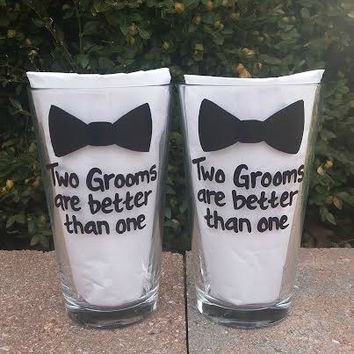 Gay Wedding Two Grooms are Better than One with bowtie handpainted pint beer glass set