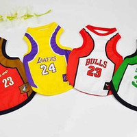 spring and Summer Fashion Sports Basketball dog clothes costume Chihuahua pet dog clothing cool dog shirt vest C64