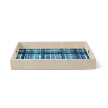 """Ebi Emporium """"PLAID FOR YOU, TEAL BLUE"""" Blue Teal Stripes Pattern Mixed Media Painting Birchwood Tray"""