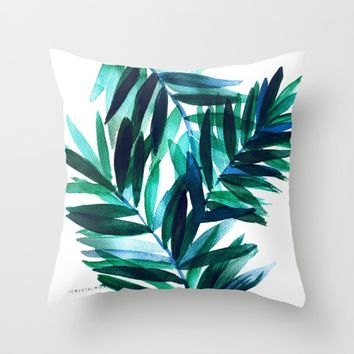 Palm Leaves - Teal Ombre Throw Pillow by CRYSTAL WALEN