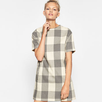 STRAIGHT CHECK DRESS ORGANIC COTTON #JOINLIFE DETAILS