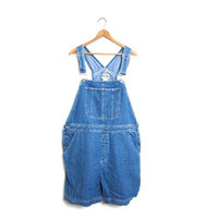 Vintage 90s Jean Bib Overalls Shorts Dungarees Medium Wash Blue Shorteralls Jumper Denim Shorts Boho Garden Bibs Vintage Women's XL