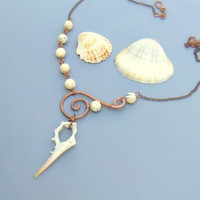 Beach wedding necklace sea shell copper statement jewelry