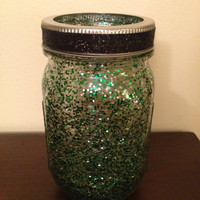 Green and Silver Mason Jar