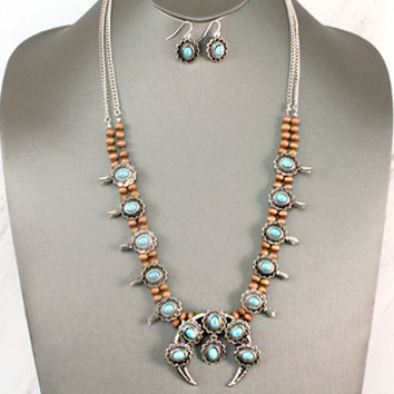 Turquoise And Silver with Wooden Beads Squash Blossom Necklace