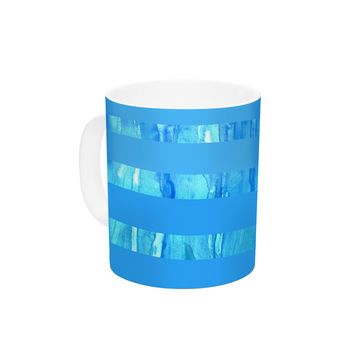 "Rosie Brown ""Wet Wild Stripes"" Aqua Blue Ceramic Coffee Mug"
