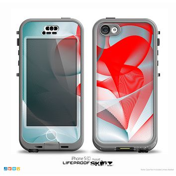 The Abstract Teal & Red Love Connect Skin for the iPhone 5c nüüd LifeProof Case