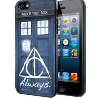 Tardis Doctor Who Deathly Hallows Always Harry Potter Samsung Galaxy S3 S4 S5 Note 3 , iPhone 4 5 5c 6 Plus , iPod 4 5 case, HtC One M7 M8