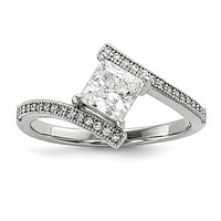 Sterling Silver Princess Cut ByPass CZ Brilliant Embers Ring