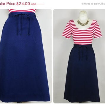 30% OFF SALE navy bow tie belted high waist nautical tailored a-line boho midi skirt vintage 1970s