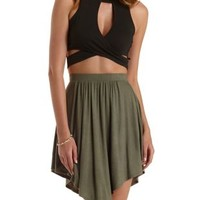 Black High-Neck Cut-Out Wrap Crop Top by Charlotte Russe