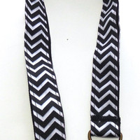 Black and White Striped, Chevron Ribbon Lanyard, Key Holder, ID Holder