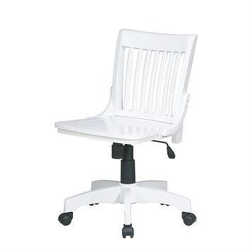 White Armless Bankers Chair with Wood Seat