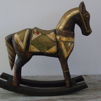 Rocking Horse Vintage Handcrafted Solid Wood Figurine Brass Bovine Bone Geometric Inlays Primitive Decor