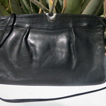 Vintage Black Handbag. Clutch Convertible. Over The Shoulder Bag. Black Leather. 80s. Matte Black. Silver Detail. Zippered Pocket