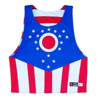 Ohio and American Flag Sublimated Lacrosse Pinnie
