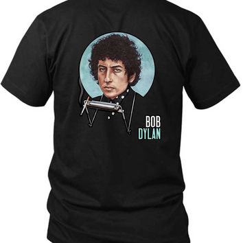 Bob Dylan Smokers Fan Art Cover 2 Sided Black Mens T Shirt