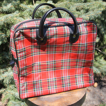 Vintage Red Plaid Overnight Bag Tote Luggage