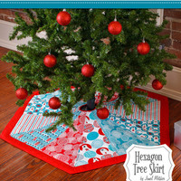 Tree Skirt, Hexagon, Nite Before Christmas Collection, Pattern