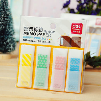 Deli Paper Cute Kawaii Bookmark Memo Tabs Stick Marker Sticky Notes Index Tabs Post It Book Office Supplies Accessories