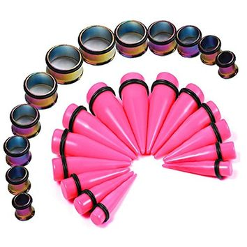 BodyJ4You Stretching Kit Pink Taper Stainless Steel Rainbow Tunnel Plug 00G-20mm Big Gauges Set 24PCS
