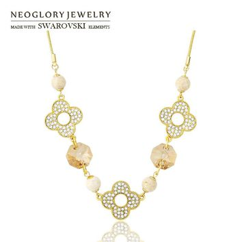 Neoglory Austria Crystal & Rhinestone Long Pendant Necklace Nature Rammel Flower Design Fashion Gift Light Yellow Gold Color