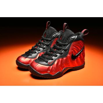 Beauty Ticks Kids Nike Air Foamposite Pro Red/black Sneaker Shoe Us 11c - 3y