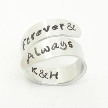 Forever & always ring with initials - Relationship ring promise ring couples ring - Romantic ring - Forever and always jewelry