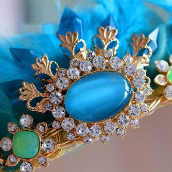 Handmade Blue Feather Crystal Crown Retro Cosplay Costume