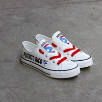 Puerto Rico Flag Pride Low Top Canvas Shoes Custom Printed Sneakers