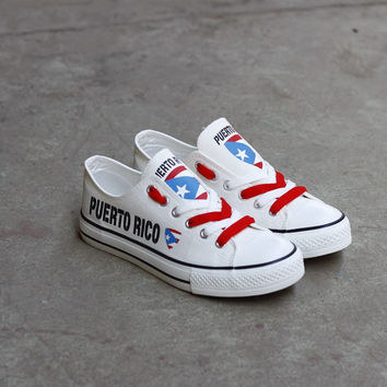 Printed Low Top Canvas Shoes - Puerto Rico Proud