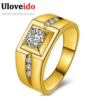 Uloveido Gold Color Wedding Male Rings for Men Jewelry Crystal Ring Men Aneis Anillos J473 Man Jewellery Sale New Year Gifts