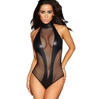 Best selling products online 2017 black bodysuit fishnet cutout leather teddy sleepwear lingerie pajamas for women set H32090