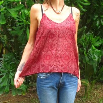 Loose Fit Swing Cami Top Vest Cherry Red Mandala Paisley Hippie Boho Party | eBay