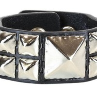 "Huge & 2 Row Smaller Pyramid Stud Black Leather Wristband Cuff Bracelet 1-1/4"" Wide"