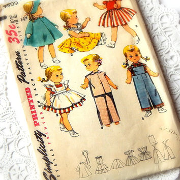 Vintage Simplicity Sewing Pattern. Doll Pattern. 14 Inch Doll. Tissue Paper Pattern. Sewing Ephemera. Decoupage Paper. Craft Supply.