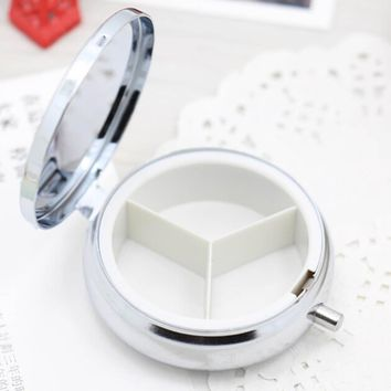 Divide Storage 1Pcs/Lot Metal Round Silver Tablet Pill Boxes Holder Advantageous Container Medicine Case Small Cases